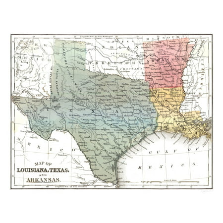 Map Of Texas And Louisiana Border.Louisiana Texas Arkansas Mitchell 1869 29 19 X 23