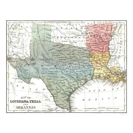 Old State Map Louisiana Texas Arkansas Mitchell 1869 29 19 X