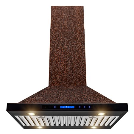 "AKDY Island Mount Range Hood –30"" Embossed Copper Hood Fan for Kitchen – 4-Speed Professional Quiet Motor – Touch Control Panel – Modern Design – Dishwasher-Safe Baffle Filters"