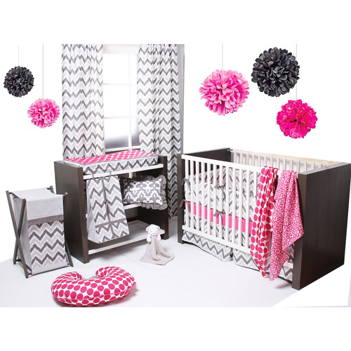 Bacati Ikat 6-Piece Crib Bedding Set, Pink/Grey