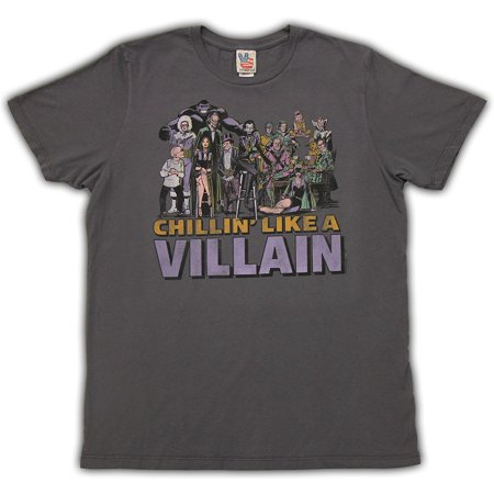 - Junk Food DC Comics Chillin Like a Villian Adult Charcoal T-Shirt