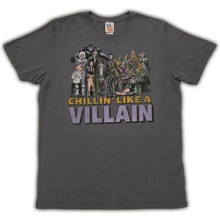 Junk Food DC Comics Chillin Like a Villian Adult Charcoal (Chillin Flannel)