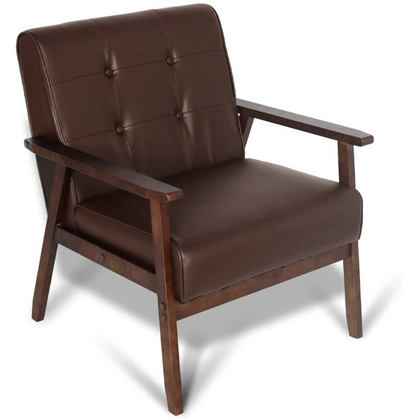 Accent Chair Mid Height Tufted Back And Curved Arms: Mid-Century Retro Modern Faux Leather Accent Chair Wooden