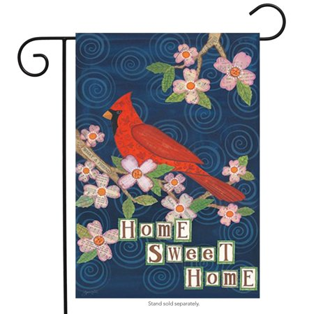 "Home Sweet Home Cardinal Garden Flag Floral Spring Decorative Banner 12.5"" x 18"""