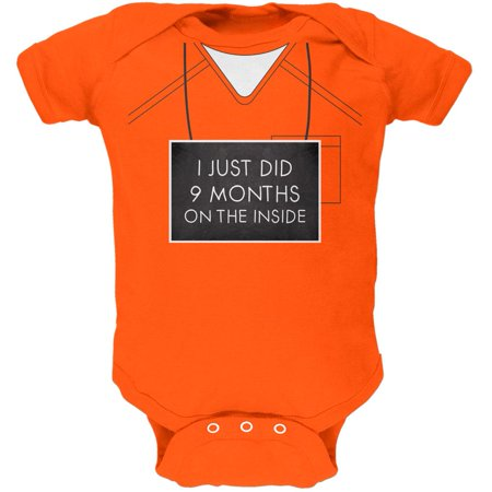 9 Months Inside Prisoner Inmate Costume Orange Soft Baby One - Toddler Inmate Costume