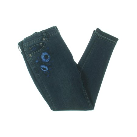 Blue Jeans Clothes - RALPH LAUREN Womens Blue Embroidered Cropped Jeans  Size: 16