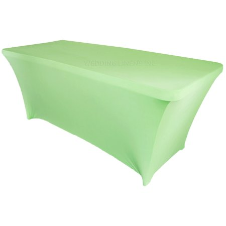 Wedding Linens Inc. Wholesale (200 GSM) 6 FT Rectangular Spandex Stretch Fitted Table Cover Tablecloths - Mint Green - Fitted Table Covers