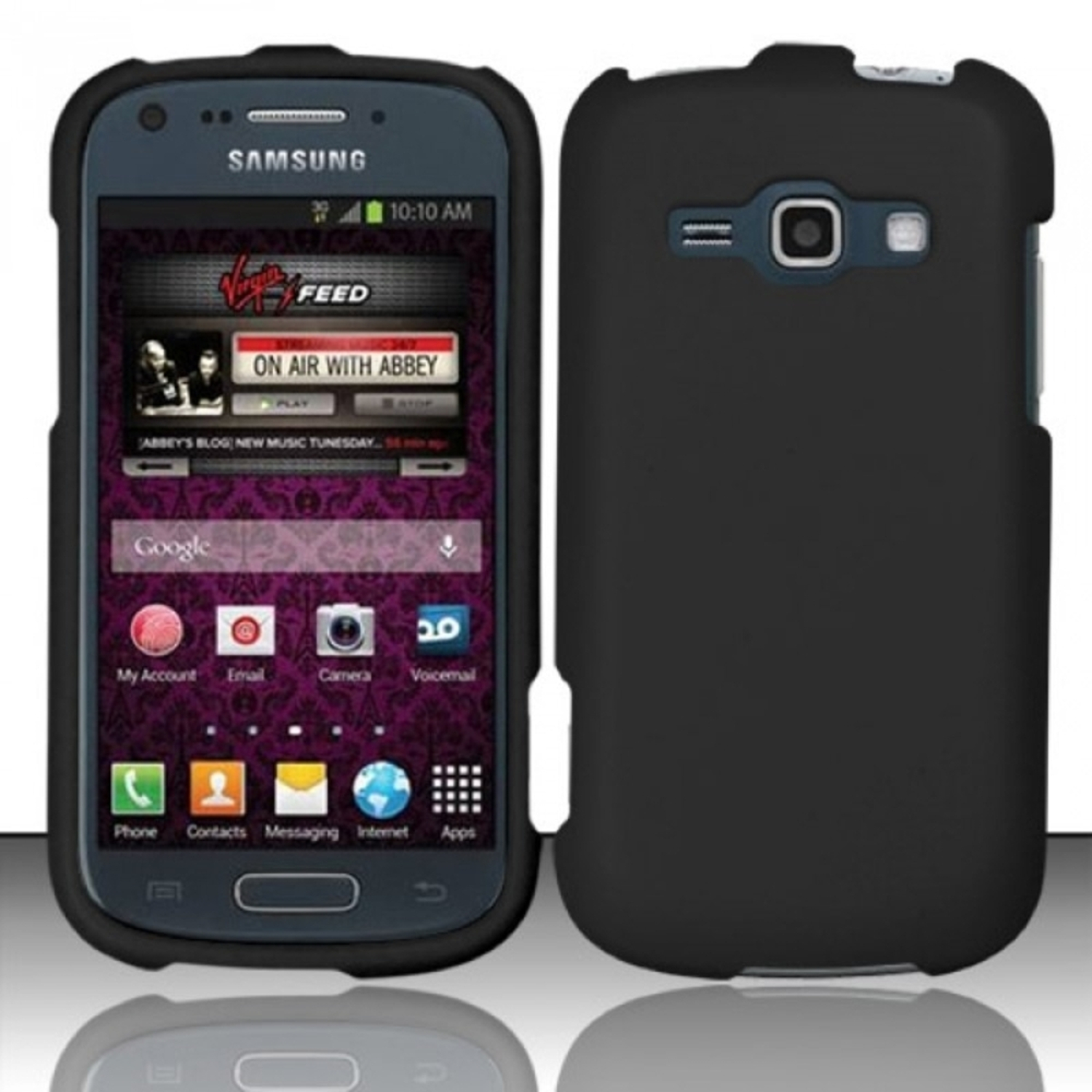 Insten For Samsung Galaxy Ring M840 / Galaxy Prevail 2 Rubberized Cover Case - Black