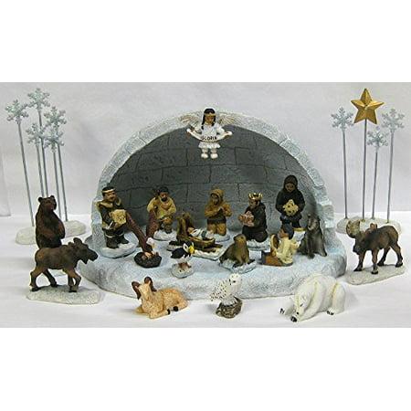 Alaska Eskimo Angel Nativity Crèche XL Igloo Set 22 Piece