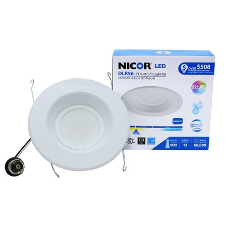 NICOR Lighting 5/6-Inch Dimmable 800-Lumen 3000K LED Downlight Retrofit Kit for Recessed Housings, White Baffle Trim (DLR56-3008-3K-WH-BF) 3' Recessed Lighting Trim