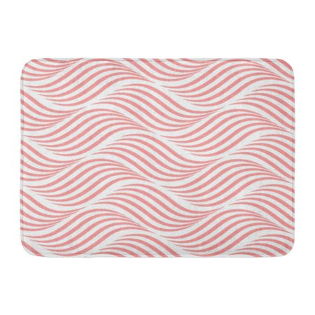 GODPOK Simple Wave Abstract Geometric Pattern with Wavy Lines Stripes Pink and White Curve Artistic Rug Doormat Bath Mat 23.6x15.7 inch