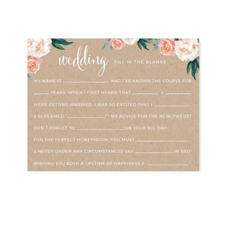 Peach Coral Kraft Brown Rustic Floral Garden Party Wedding, Wedding Reception Fill in the Blanks Game Cards, - Games For Wedding Reception