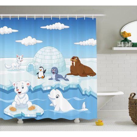 (Kids Decor Shower Curtain, Image of Arctics Animals Polar Bears Seal Penguins Wolfs Whales Artwork, Fabric Bathroom Set with Hooks, 69W X 84L Inches Extra Long, Sky Blue and White, by Ambesonne)