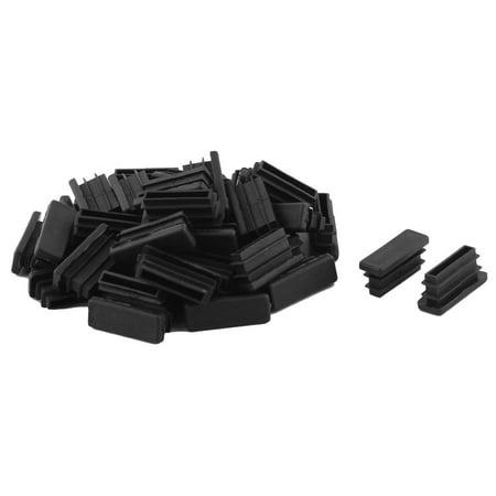 Unique Bargains 40 Pcs Antislip Plastic Rectangle 30mm x 10mm Chair Foot Cover Table Furniture Leg Protector Black ()