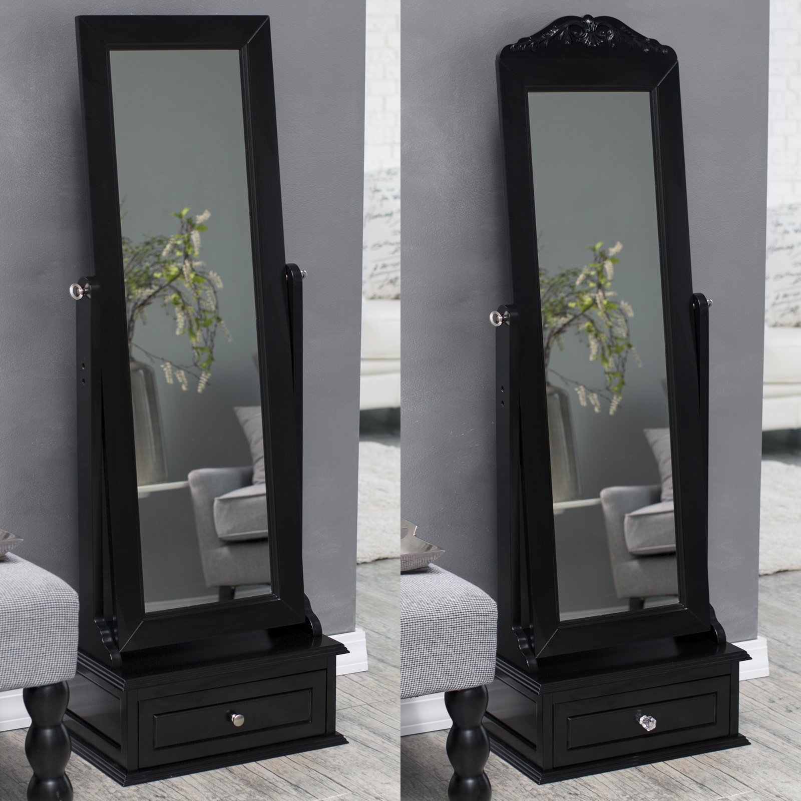Belham Living Removable Decorative Top Cheval Mirror Black 21.5W x 60H in. by East West Basics (HK) Ltd