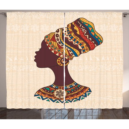 Tribal Curtains 2 Panels Set, African Woman in Traditional Ethnic Fashion Dress Portrait Glamour Graphic, Window Drapes for Living Room Bedroom, 108W X 63L Inches, Cream and Brown, by Ambesonne ()