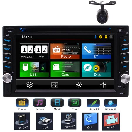 6.2 Inch Double Din Touch Screen Car DVD CD Audio Stereo Receiver MP3 Player FM AM RDS Radio Video Bluetooth with Rear View Camera Support AUX USB SD Subwoofer Steering Wheel Control included Rem ()