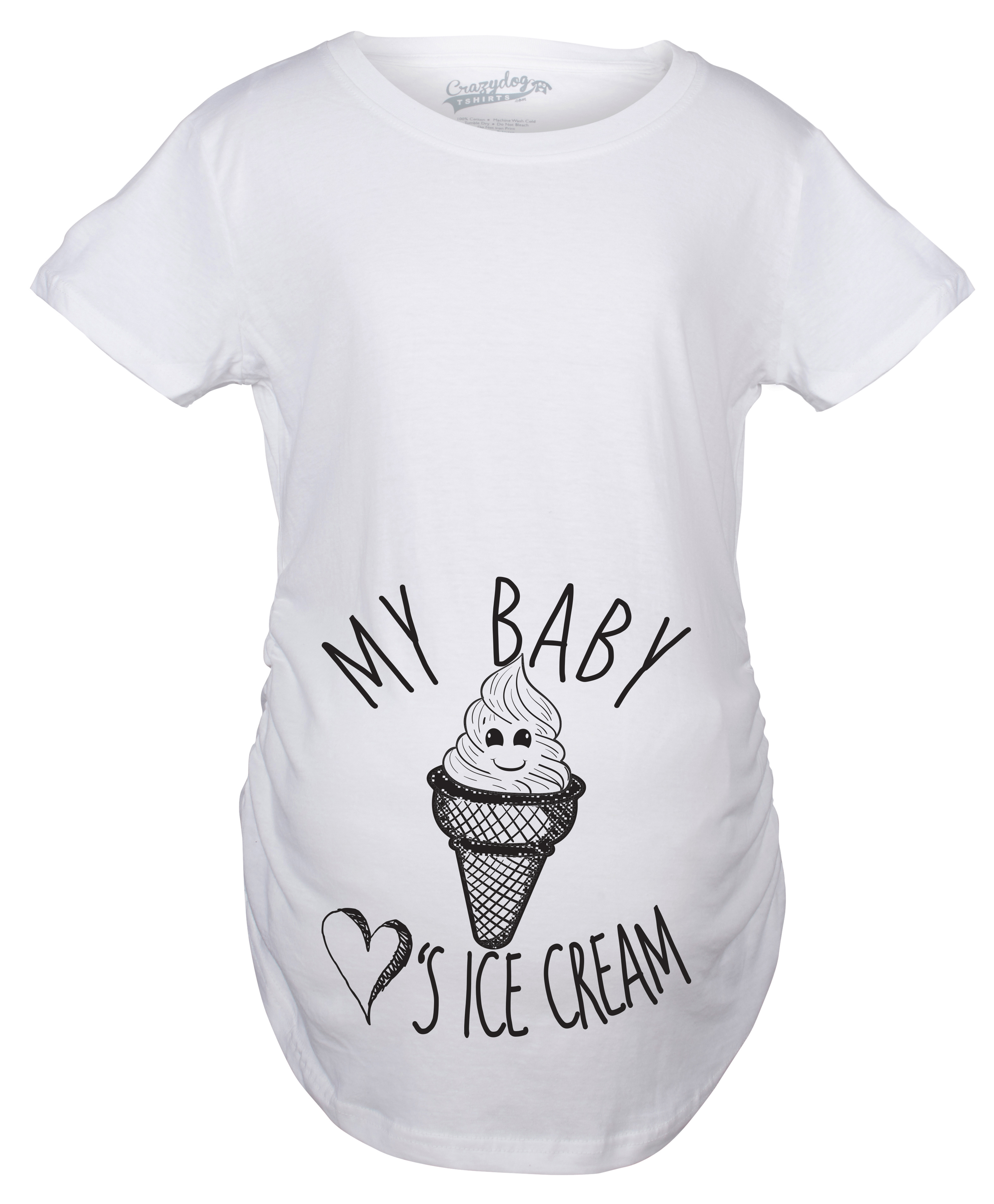 Crazy Dog TShirts - Maternity My Baby Loves Ice Cream Funny Announce Pregnancy Baby Bump T shirt