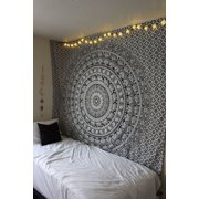 82''x57'' Indian Black & White Elephant Mandala Wall Hanging Tapestry Bedspread Throw Mat Wall Art Bedspread Collage Dorm Beach Home Decor