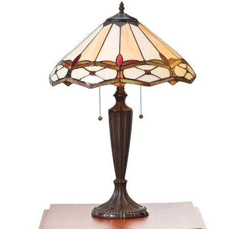 Diamond Designed Stained Glass (Handmade Stained Glass Gold & Ruby Diamond Table Lamp )
