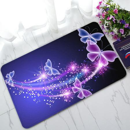 - GCKG Pink Purple Butterfly Shining Light Non-Slip Doormat Indoor/Outdoor/Bathroom Doormat 30 x 18 Inches