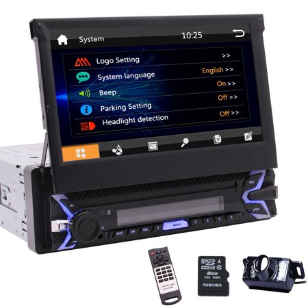 """Single Din Car Radio 7"""" HD Touch Screen Digital Display Bluetooth Multimedia Player Car Stereo GPS Navigation Radio Player with Backup Camera + Wireless Remote Control"""
