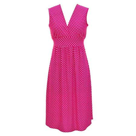 Lightweight Sleeveless V-Neck Polka Dot Dress