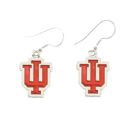 Indiana Hoosiers Iridescent Silver French Hook Red Charm Earring Jewelry (Iu Hoosiers Football)