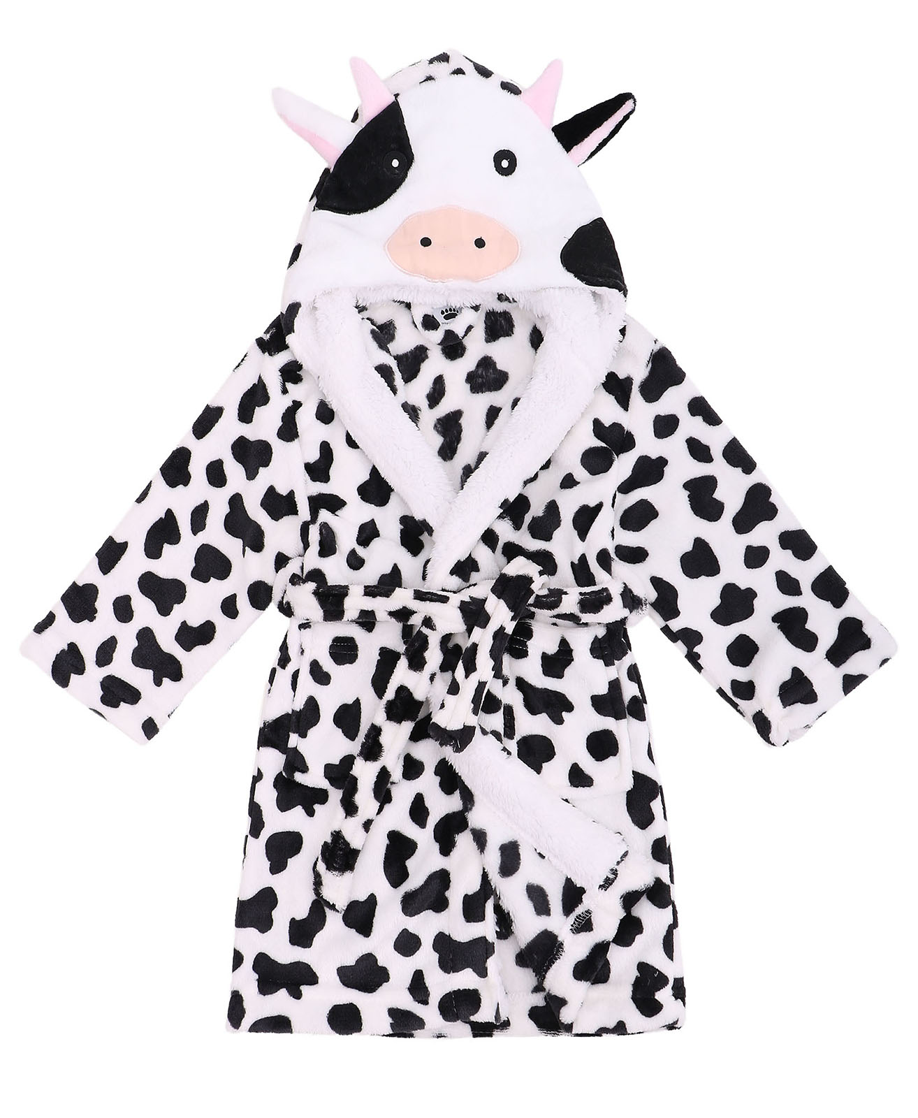Boys Robe Zoo Crew Fuzzy Sherpa Lined Hooded Animal Bathrobe,Cow,M(4-6 Years)