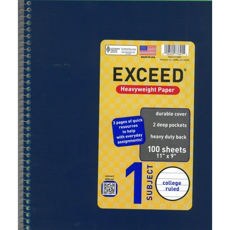 ((4 Pack) Exceed 1 Subject 100 Sheets Notebook, Wide Ruled, 11