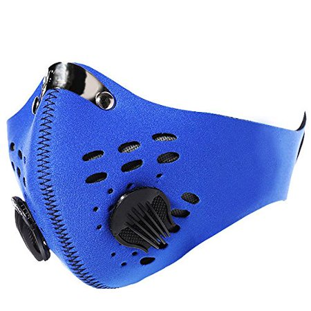 Unisex Anti Dust Mask Breathable Neoprene Half Mask Motorcycle Bicycle Cycling Bike Ski Half Face Activated Carbon Filter Mask Color:Blue
