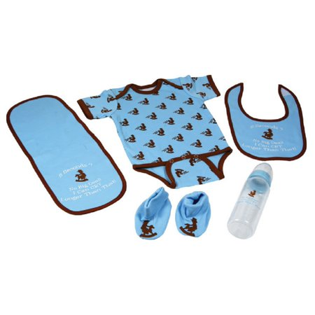 Cowboy Baby Boys Blue 5pc Western Outfit Feeding Gift Set - Cowboy Outfits