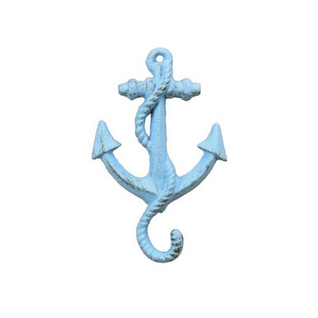 Rustic Light Blue Cast Iron Anchor Hook 5