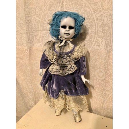OOAK Hollow Eye Blue Hair Creepy Horror Doll Art by Christie - Creepy Doll Makeup