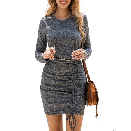 Women Fashion Retro Winter Long Sleeve Bodycon Midi Long Dresses Ladies Slim Fit Sexy Cocktail Party Evening Dress Pullover Winter Jumper Casual Mini Dresses Size 4-18 ()