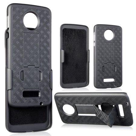 Moto Z Belt Clip Case, Nakedcellphone Black Kickstand Cover [with Holster] for Verizon Motorola Moto Z Droid XT1650-01 (Not for Moto Z Play, Not for Moto Z