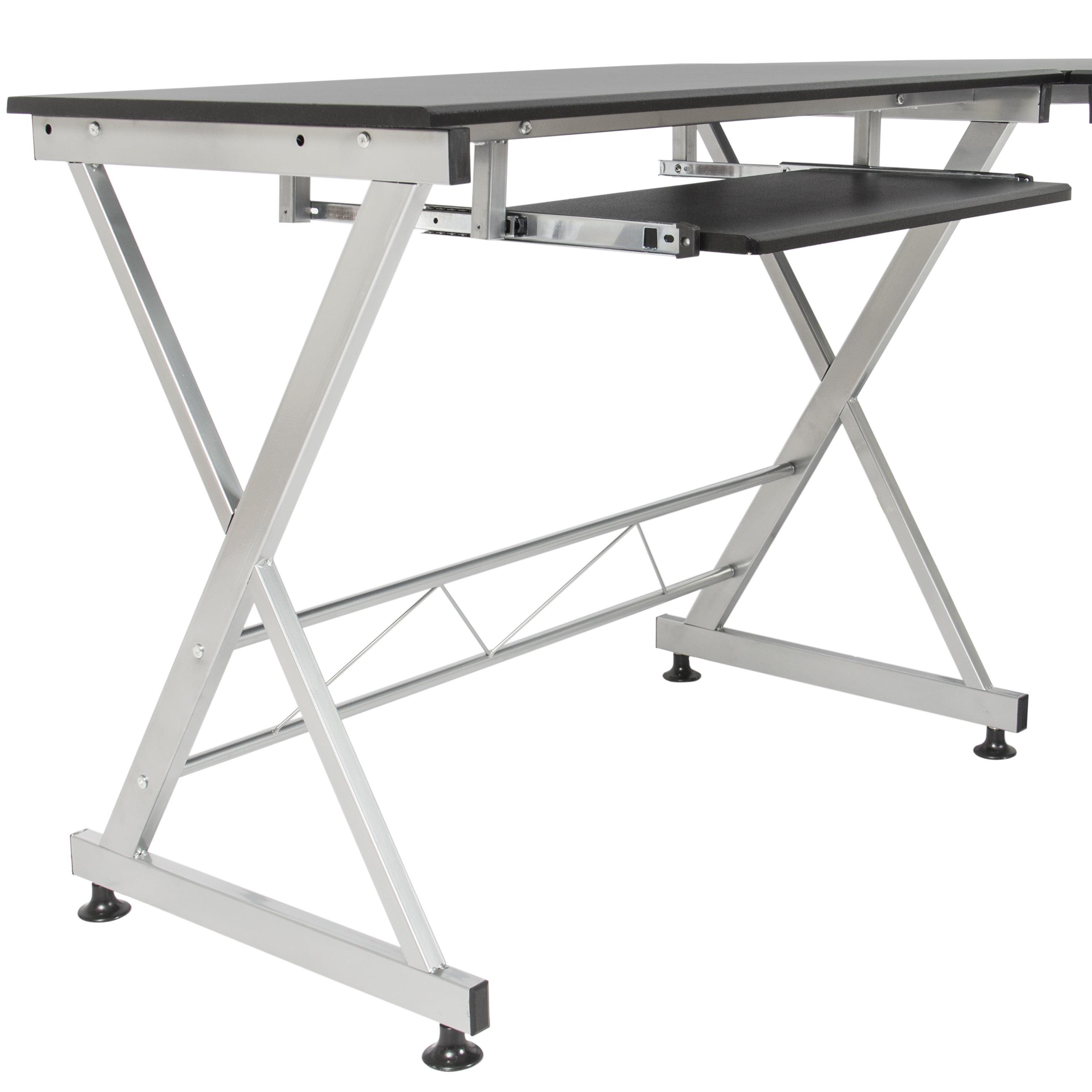 best choice products wood l-shape corner computer desk pc laptop