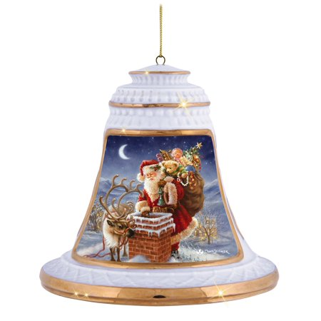 Precious Moments Santa Claus Special Delivery Bisque Porcelain Ornament - Handprint Santa Ornament