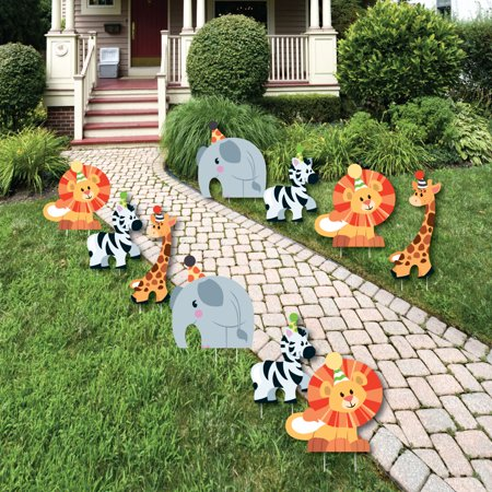Jungle Party Animals - Animal Lawn Decorations - Outdoor Safari Zoo Animal Birthday Party or Decorations - 10 Piece - Safari Decorations