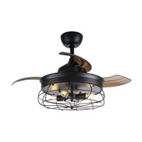 Parrot Uncle Vintage Ceiling Fan with Lights with Remote Control 34 inch Retractable 3 Blades Industrial Chandelier Fan 3501, 4 Edison Bulbs, Not Included