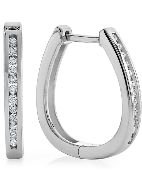 1/4 Carat Natural Diamond Hoop Earrings in Sterling Silver
