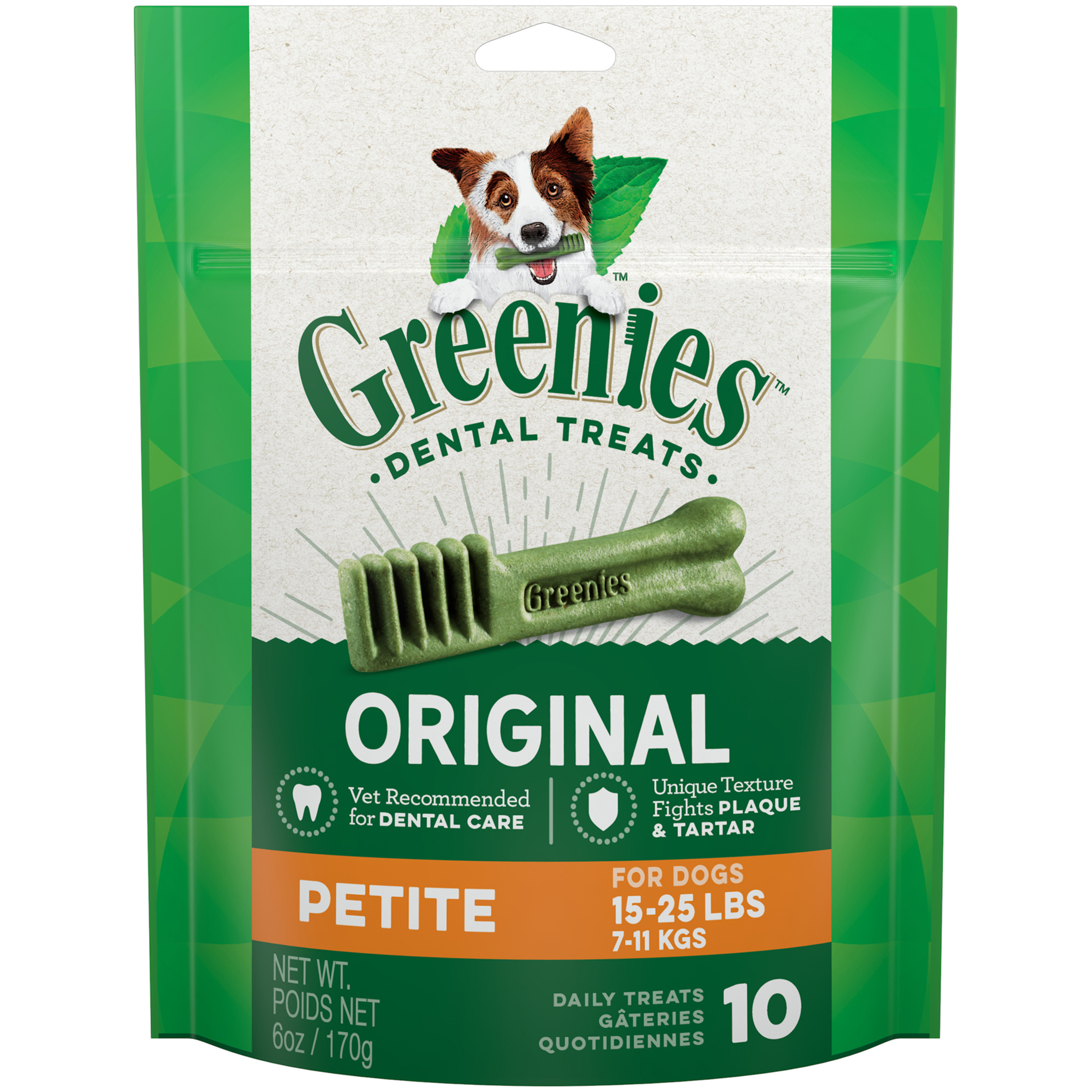 GREENIES Original Petite Dental Dog Treats, 6 oz. Pack (10 Treats)