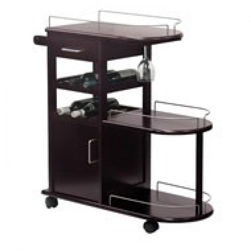 Winsome Entertainment Cart, Glass Rack, Cabinet, Drawer