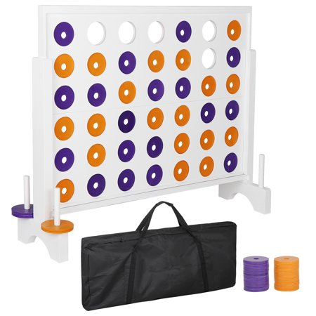 Three In A Row Games (Giant 4 in a Row Board Game Set - 3 Foot Width - Huge 4 to Score Board Game with a Carrying Shoulder Bag, Coins for Backyard Outdoor Party)