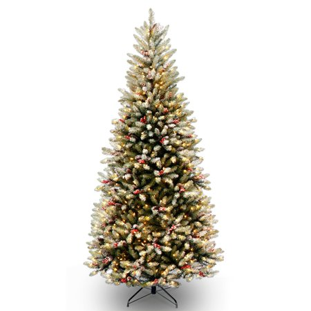 Dunhill Fir Christmas Tree.National Tree Pre Lit 7 1 2 Dunhill Fir Slim Hinged Artificial Christmas Tree With Snow Red Berries Cones And 600 Clear Lights