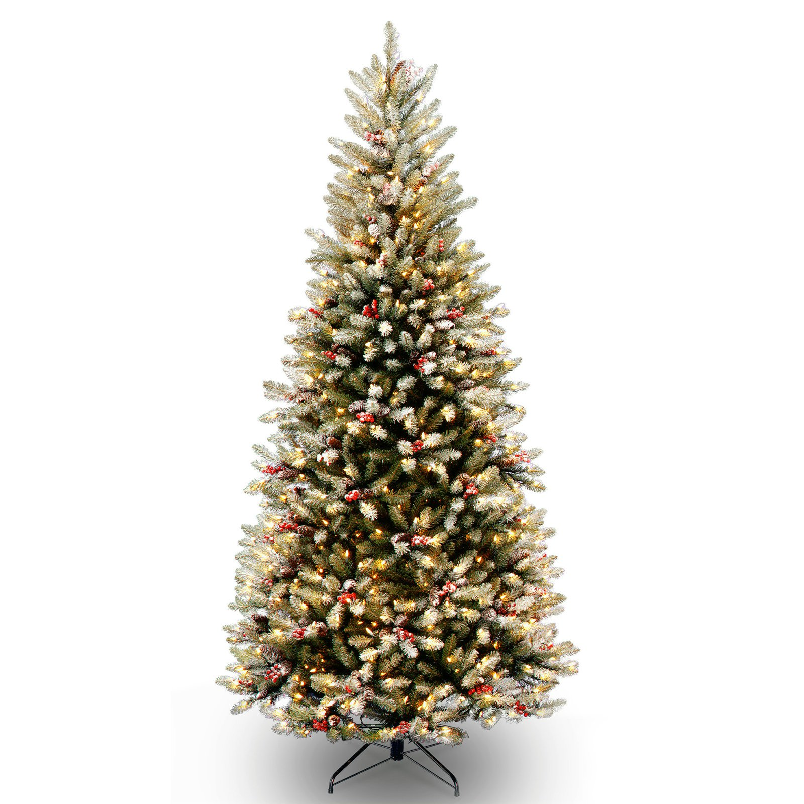National Tree Pre-Lit 7-1/2' Dunhill Fir Slim Hinged Artificial Christmas Tree with Snow, Red Berries, Cones and 600 Clear Lights