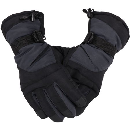 Simplicity Men's Ski Snowboarding Gloves w/Elastic Wrist Cuffs, 3578_L.grey Blk