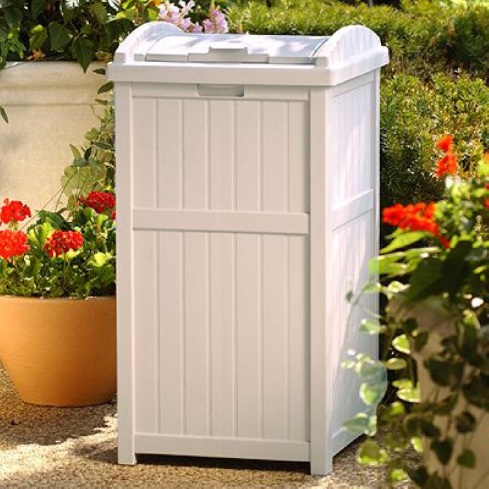 Suncast Outdoor Trash Can Hideaway Patio Deck Garbage Container Bin With Lid
