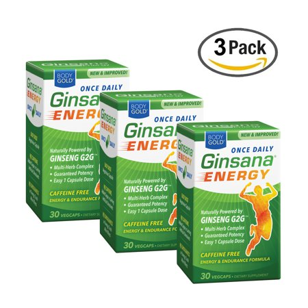 BodyGold Ginsana Energy, Once Daily | Panax Ginseng Extract w/ Herbal Blend for Focus & Endurance | Caffeine Free | 30 VegCaps/Box | Pack of (Herbal Energy Boosters)