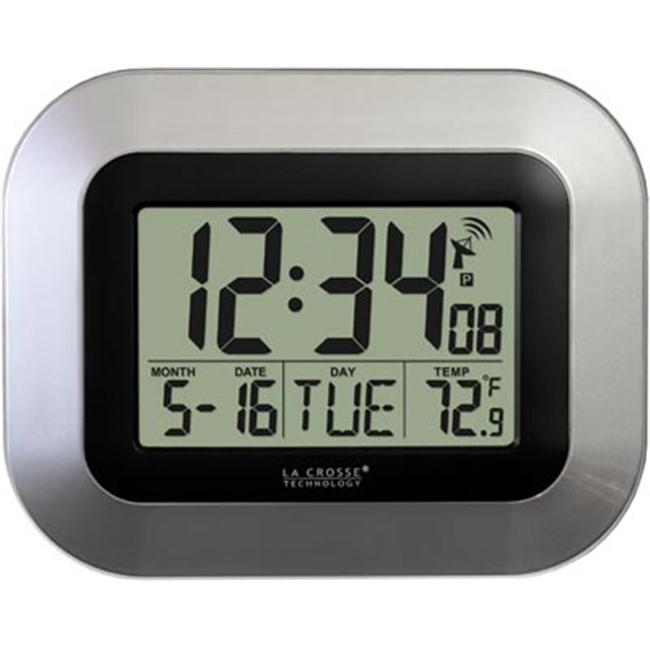 La Crosse Technology WT-8005U-S Atomic Digital Wall Clock with IN Temp and Date-Silver